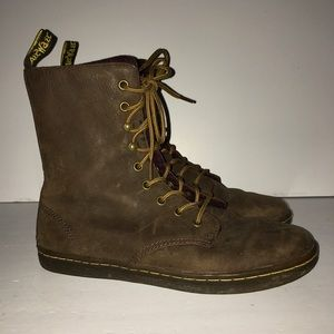 Dr Martin Tehani Brown Leather Boots Combat